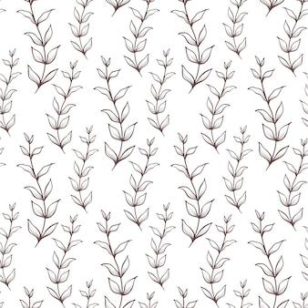 Plano de fundo sem emenda com folhas. teste padrão do vintage textura botânica.