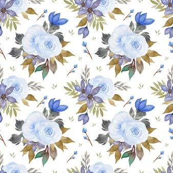 Plano de fundo sem emenda com lindas flores azuis