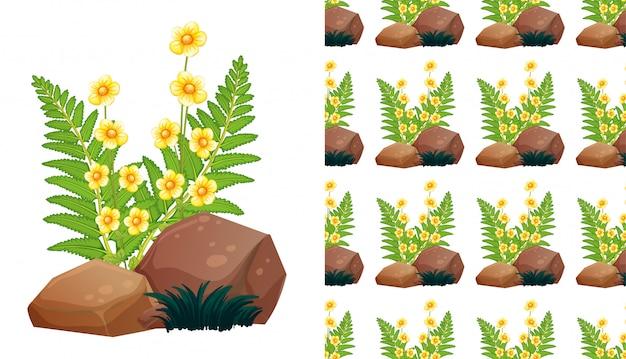 Plano de fundo sem emenda com lindas flores e pedras