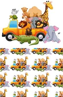Plano de fundo sem emenda com muitos animais em um caminhão