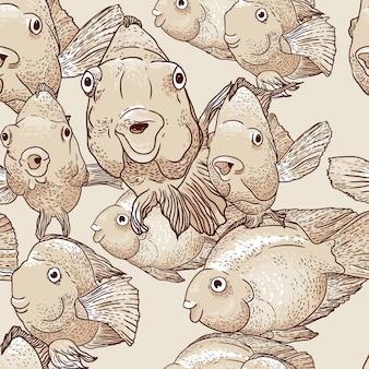 Plano de fundo sem emenda com peixe