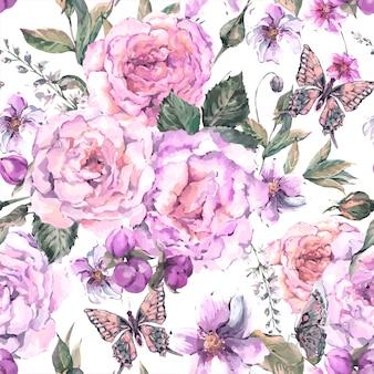Plano de fundo sem emenda com rosas e borboleta