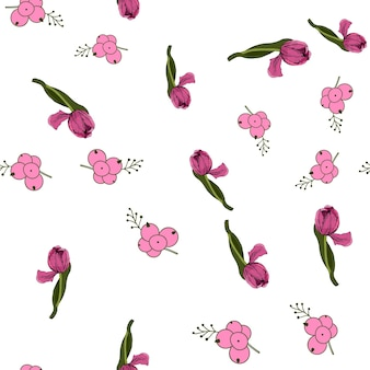 Plano de fundo sem emenda com tulipas cor de rosa coloridas. ilustração vetorial. fundo sem emenda floral com tulipas coloridas. clima de primavera.a textura do tecido, o design de embalagens de presente. gráfico vetorial