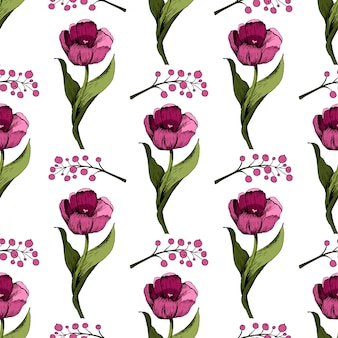 Plano de fundo sem emenda com tulipas cor de rosa