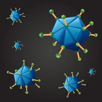 Plano de fundo sem emenda com vírus azul