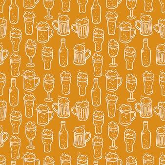Plano de fundo sem emenda de cerveja diferente. ilustrações desenhadas à mão