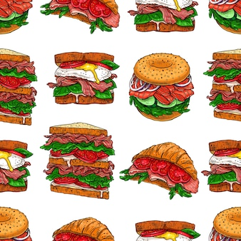 Plano de fundo sem emenda de diferentes sanduíches apetitosos. ilustração desenhada à mão