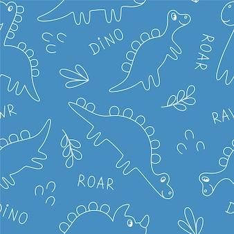 Plano de fundo sem emenda de dinossauros em fundo azul. delinear dinossauros desenhados à mão. ideal para tecidos, embalagens, papel de parede, têxteis, decoração de casa.