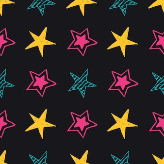 Plano de fundo sem emenda de estrelas do doodle. multicolor mão desenhada estrelas sobre fundo preto. ilustração vetorial