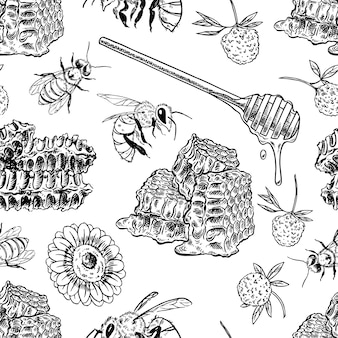 Plano de fundo sem emenda de favos de mel, abelhas, flores. ilustração desenhada à mão
