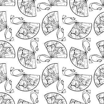 Plano de fundo sem emenda de lindos leques japoneses pretos com uma imagem de flores de cerejeira. ilustração desenhada à mão