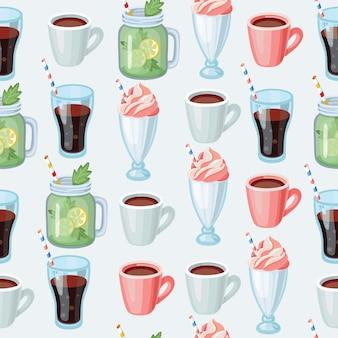 Plano de fundo sem emenda de milkshake doce. padrão de desenho animado.