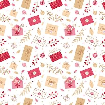 Plano de fundo sem emenda de natal com presentes, cartas, ramos e decorações de natal em um fundo branco.
