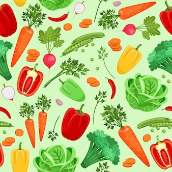 Plano de fundo sem emenda de rabanetes de vegetais, pimentão, repolho, cenoura, brócolis e ervilhas. ilustração vetorial