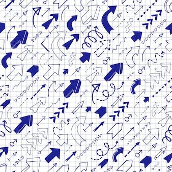 Plano de fundo sem emenda de setas de mão desenhada, diagonal para cima e direção certa, efeito de caneta desenhada. conceito de crescimento e sucesso.