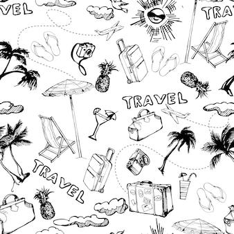 Plano de fundo sem emenda de viagens. padrão de férias de verão desenhada de mão. ilustração vetorial