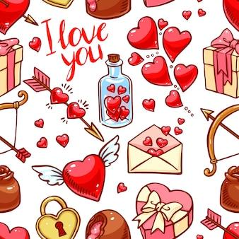 Plano de fundo sem emenda do dia dos namorados. coração, presentes, doces. ilustração desenhada à mão