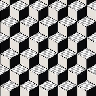 Plano de fundo sem emenda, padrão de geometria vintage preto branco linha cúbica.