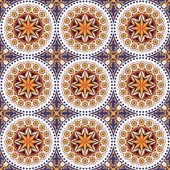Plano de fundo sem emenda, padrão de telha flor vintage redondo ponto.