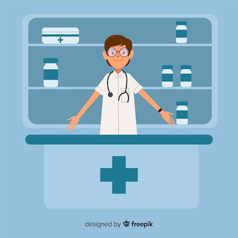 Plano de fundo simples farmacêutico sorridente