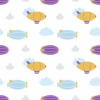 Plano de fundo transparente com bonito dirigível. endless pattern com aeronaves para costura de roupas infantis, impressão em tecido e papel de embalagem. zepelim nas nuvens.