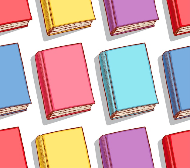 Plano de fundo transparente com diferentes livros coloridos. ilustração desenhada à mão