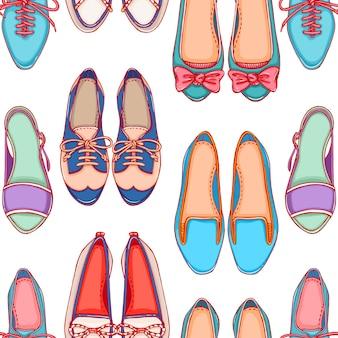 Plano de fundo transparente com sapatos de cores diferentes em um fundo branco