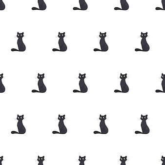 Plano de fundo transparente com um gato preto. adequado para fundos, cartões postais e papel de embrulho. vetor.