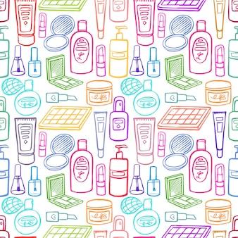 Plano de fundo transparente com uma variedade de produtos para beleza e cuidados com o corpo. ilustração desenhada à mão