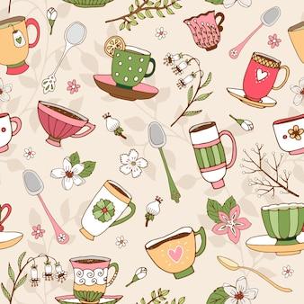 Plano de fundo transparente de delicadas xícaras de chá desenhadas à mão