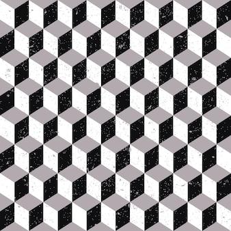 Plano de fundo transparente, padrão de geometria quadrada cúbica de tom cinza desgastado.