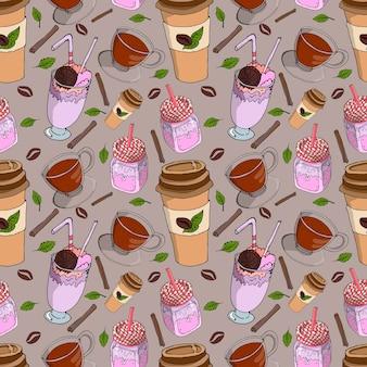 Plano de fundo transparente para uma cafeteria com uma xícara de chá, grãos de café e um milkshake