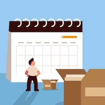 Plano de homem de negócios e logística