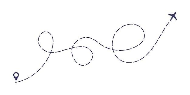 Plano de ilustração vetorial de design de estilo plano de caminho de linha tracejada isolada no fundo branco