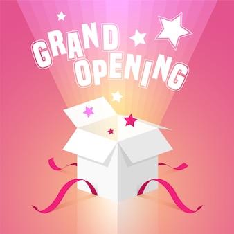 Plano de inauguração com caixa aberta.