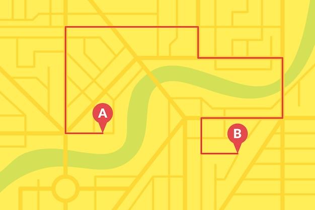 Plano de mapa de ruas da cidade com pinos de gps e rota de navegação de marcadores de ponto a a b. esquema de ilustração de eps de cor amarela
