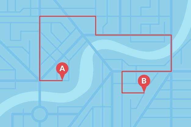 Plano de mapa de ruas da cidade com pinos de gps e rota de navegação de marcadores de ponto a a b. esquema de ilustração de eps de cor azul vetorial