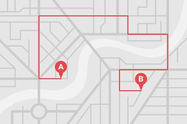 Plano de mapa de ruas da cidade com pinos de gps e rota de navegação de marcadores de ponto a a b. esquema de ilustração de eps de cor cinza vetorial