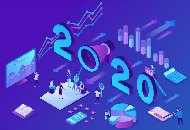 Plano de marketing do ano, mídia social 3d isométrica