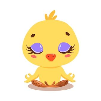 Plano de meditação de frango bonito dos desenhos animados. ioga de animais de fazenda.
