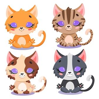 Plano de meditação de gatos bonito dos desenhos animados. gatos de ioga. os animais da fazenda meditam.