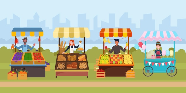 Plano de mercado de comida de rua local. mercado de supermercado ao ar livre na calçada.