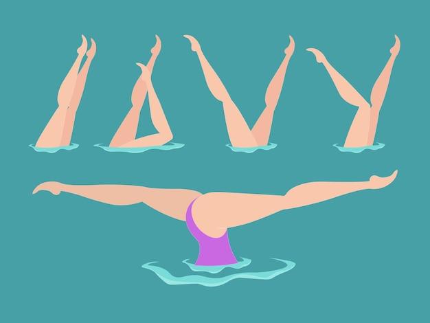 Plano de natação sincronizado. atleta feminina sobre o desempenho do nado sincronizado