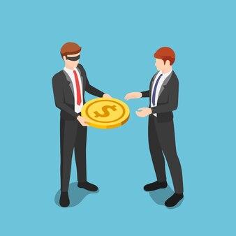 Plano de negócios 3d isométrico com os olhos vendados, dando dinheiro em moedas de um dólar a outros empresários. prevenção de conflitos de interesse com o conceito blind trusts.