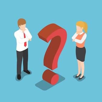 Plano de negócios confuso isométrico 3d e empresária com sinal de interrogação.