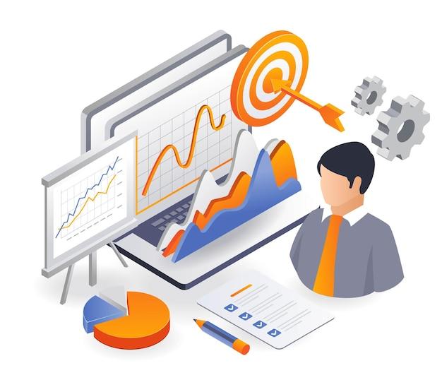 Plano de negócios de investimento e analista de dados de estratégia