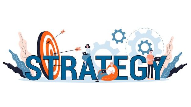 Plano de negócios e conceito de estratégia. fazendo pesquisas financeiras e análise de metas. organização do negócio. ilustração