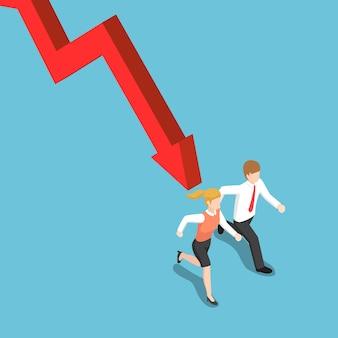 Plano de negócios isométrico 3d e empresária em fuga do gráfico de queda. conceito de crise financeira.