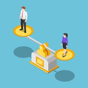 Plano de negócios isométrico 3d e mulher de negócios iguais em uma escala. conceito de negócios e igualdade de gênero.