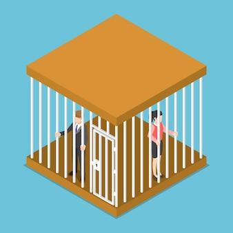 Plano de negócios isométrico 3d e mulher de negócios presos na gaiola.